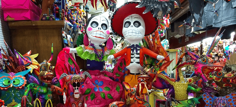 Mexican handcrafts with brightcolors