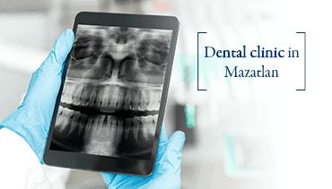 Dentist wearing blue gloves while holding a tablet with a teeth radiograph