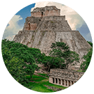 Aerial view of Uxmal pyramid