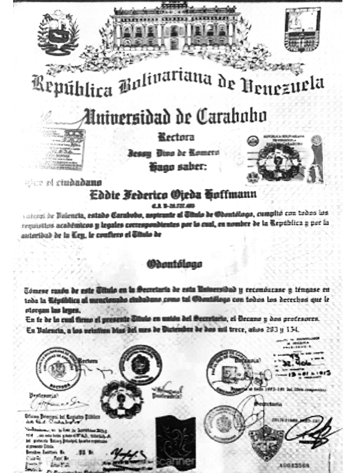 Mexicali dentist certificate