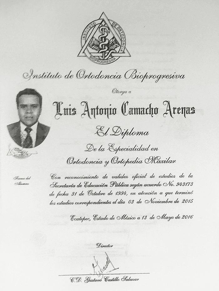 Mexico City dentist certificate