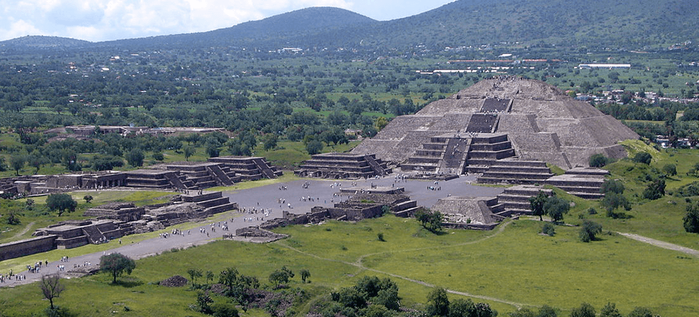 Panoramic view of Teotihuacan archeological site