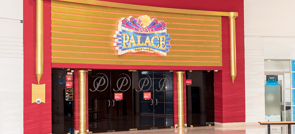 Bingo place entrance with bright red color