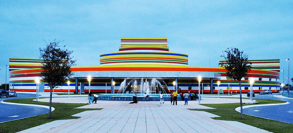 Cultural center with bright colors